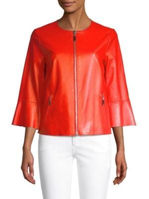 ESCADA SPORT Levangelista Leather Bell-Sleeve Jacket in Bright