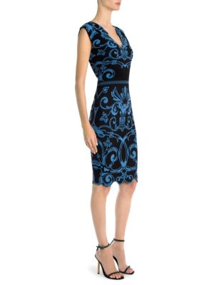 Versace Graphic Print Cap Sleeve V Neck Knit Sheath Dress In Blue