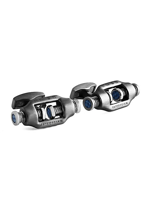 """Image of Masculine cufflinks with rotating screw details. Silver/carbon fiber.1""""W x 1""""L x 0.25""""D.Made in Italy."""
