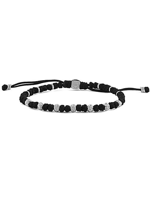 Image of Prayer bead-inspired bracelet with macrame braiding and sterling silver accent. Bamboo beads. Nylon thread. Sterling silver. Made in Italy.