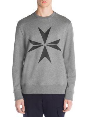 NEIL BARRETT Men'S Military Star Sweatshirt, Grey