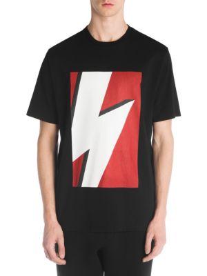 NEIL BARRETT Bolt-Print Cotton T-Shirt, Black Red