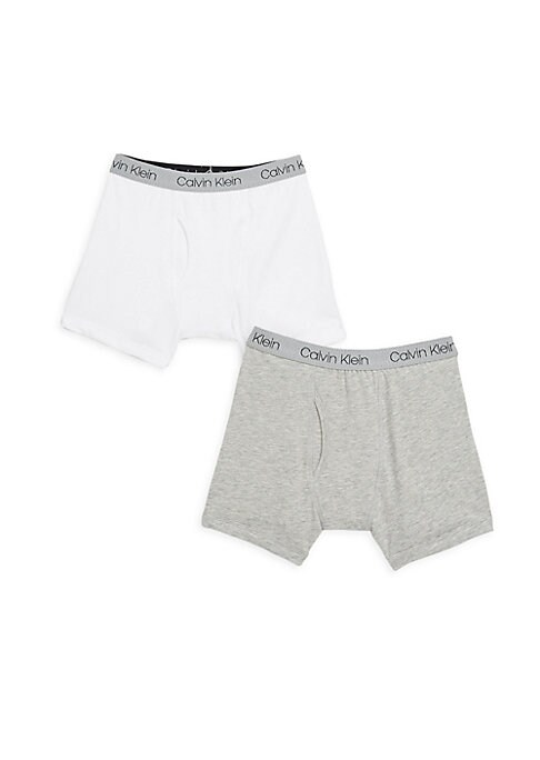 Image of From the Calvin Klein Modern Cotton Collection. Comfy cotton-blend boxer briefs finished with logo detailing. Two-pack. Elasticized waist. Functional fly. Comfort-fit. Premium cotton. Cotton/spandex. Machine wash. Imported.