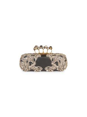 Crystal Embellished Leather Knuckle Clutch - Black