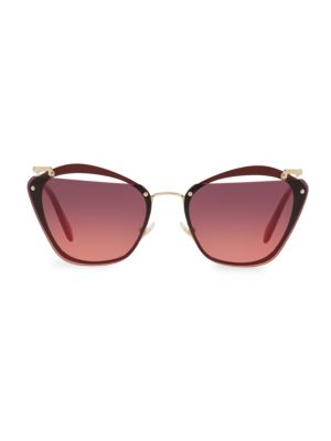Flattop Cutout Gradient Butterfly Sunglasses, Violet Pink