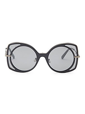 Image of Abstract round and square frames add geometric accents to sunglasses 51mm lens width; 21mm bridge width; 140mm temple length Tinted black lenses Acetate/metal/nylon Made in Italy. Soft Accessorie - Sunglasses. Bottega Veneta. Color: Black.