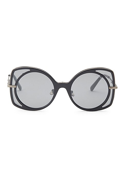 Image of Abstract round and square frames add geometric accents to sunglasses.51mm lens width; 21mm bridge width; 140mm temple length. Tinted black lenses. Acetate/metal/nylon. Made in Italy.