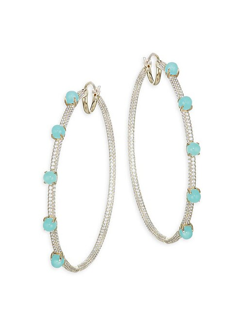 Image of .EXCLUSIVELY AT SAKS FIFTH AVENUE. From the Hues Collection.18K gold plated brass hoop earrings embellished with cubic zirconia and glass details.18K gold plated brass. Cubic zirconia. Glass. Length, 50mm. Twister closure. Imported.