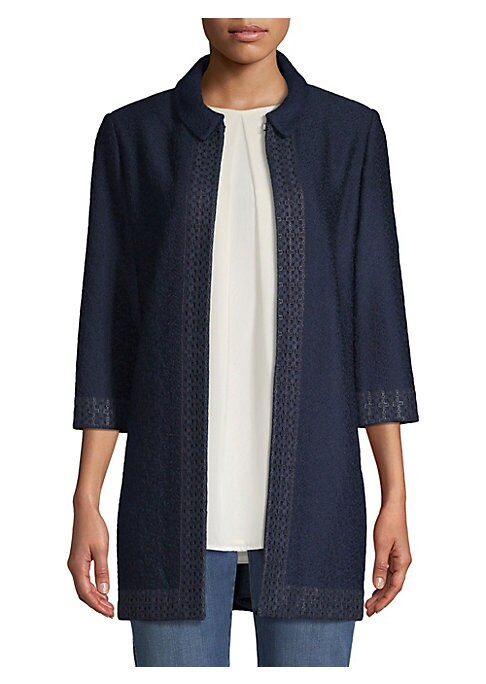 Image of Designed in a streamlined silhouette, this transistional style is made from a luxe wool blend. The textured knit trim secures it's place as a fun-yet-refined wardrobe staple. Spread collar. Three-quarter sleeves. Front hook-and-eye closure. Rayon/wool. Co
