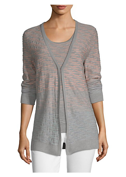 """Image of Designed in a longer length, this polished cardigan is knit with a wavy texture for added dimension.V-neck. Long sleeves. Hook-and-eye front. Wool/viscose. Dry clean. Imported of Italian fabric. SIZE & FIT. About 27"""" from shoulder to hem. Model shown is 5"""