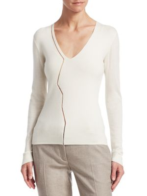Zigzag Tulle Inset V-Neck Long-Sleeve Cashmere-Silk Stretch Top, Paper