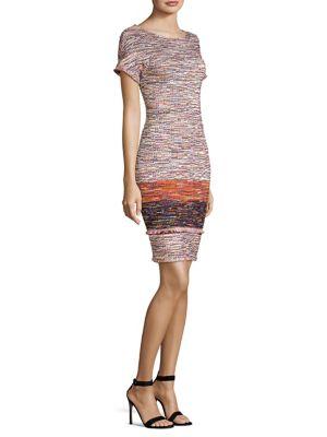 Multi-Tweed Knit Fringe Short-Sleeve Dress in Red