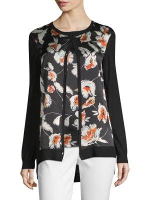 Modern Floral Hammered Satin & Jersey Knit Cardigan in Black