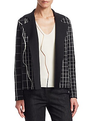 Image of From the Saks IT LIST MAD FOR PLAID See the traditional check in dozens of new ways. The blazer steps into cardigan territory with this reversible piece, executed in a luxe cashmere-blend. An allover knit pattern features a larger and smaller subway tile