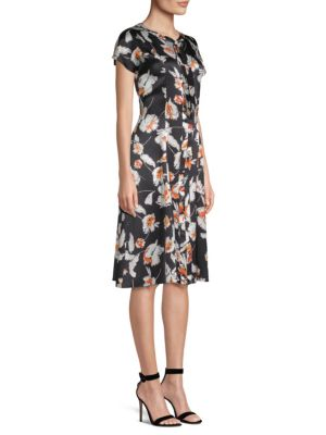 ST. JOHN Modern Floral Hammered Satin Silk Self-Tie Neck Dress in Black