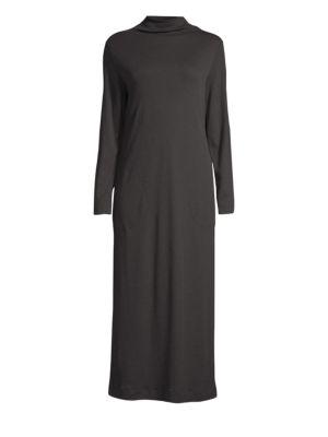 Liara Cotton-Jersey Turtleneck Nightdress in Black