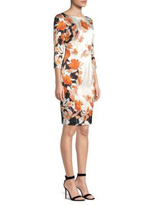 Modern Floral Print Stretch Silk Dress in Black