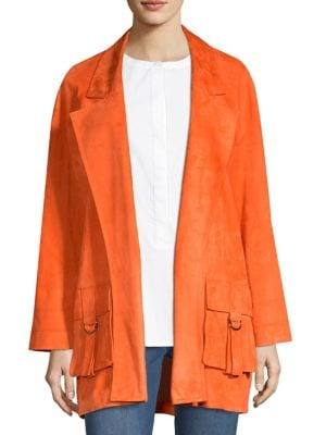 Silken Suede Slouchy-Sleeve Jacket in Soft Sienna