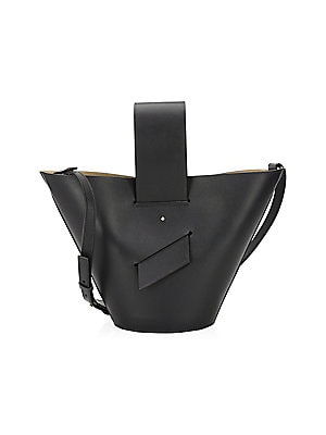 """Image of Crafted of smooth leather, this bucket bag features a removable crossbody strap Removable leather shoulder strap, 24"""" drop Open top Goldtone hardware 13""""W x 8""""H Leather Made in Italy. Handbags - Collection Handbags. Carolina Santo Domingo. Color: Black."""