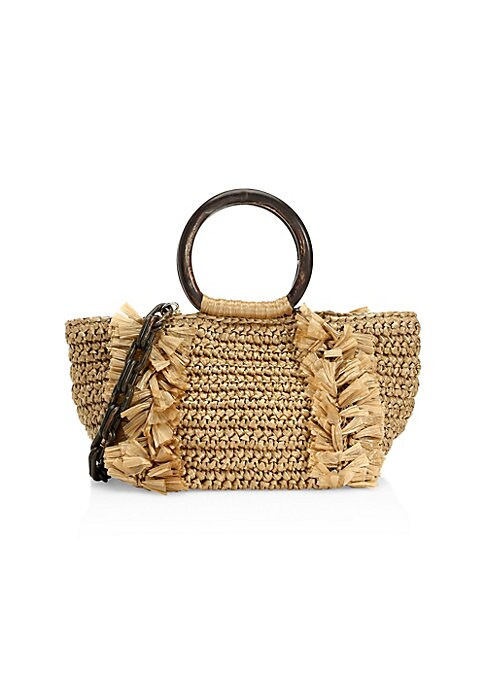 """Image of Crafted of soft, woven raffia with frayed trim, circular top handles and chain shoulder strap. Removable chain shoulder strap. Double circular top handles. Magnetic closure. Interior zip pocket. Lined. Goldtone hardware.11""""W X 7""""H X 6""""D.Raffia/lucite. Mad"""