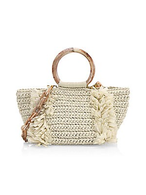 "Image of Crafted of soft, woven raffia with frayed trim, circular top handles and chain shoulder strap Removable chain shoulder strap Double circular top handles Magnetic closure Interior zip pocket Lined Goldtone hardware 11""W X 7""H X 6""D Raffia/lucite Made in It"