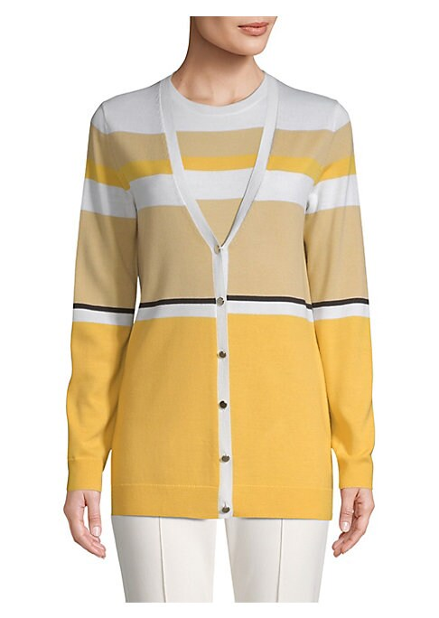 Image of Crafted from luxe Italian wool, this V-neck cardigan is a cozy wardrobe staple. Bold colorblocked stripes give it a polished, fashion-forward feel.V-neck. Button front. Long sleeves. Ribbed cuffs and hems. Wool. Dry clean. Imported of Italian fabric. SIZE