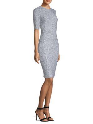 Olivia Boucle Knit Origami-Neck Dress, White Caviar