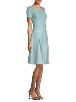 Flecked Sparkle Sequin Knit Fit-And-Flare Dress in Aqua Multi