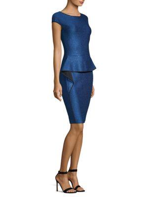 Luster Sequin Knit Peplum Cap-Sleeve Dress, Blue