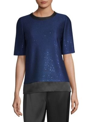 Lightweight Paillette Knit Top W/ Silk Trim, Blue