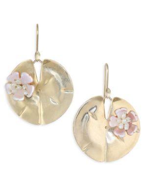 ANNETTE FERDINANDSEN Flora Mother Of Pearl & 14K Yellow Gold Lily Pad Earrings
