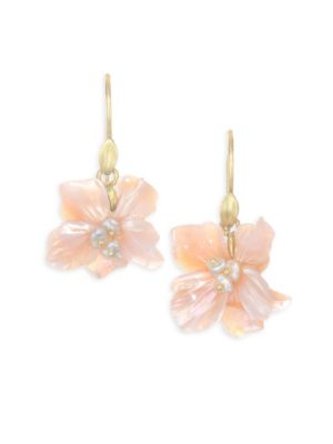 Annette Ferdinandsen Flora African Violet Mother Of Pearl Drop Earrings