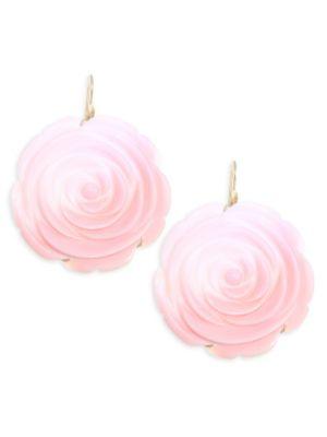 ANNETTE FERDINANDSEN Flora Camellia Blossom & 18K Yellow Gold Post Earrings in Pink