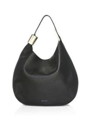 Stevie Lambskin Leather Hobo - Black in Female