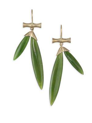 ANNETTE FERDINANDSEN Tropical Jade Bamboo Drop Earrings in Yellow Gold