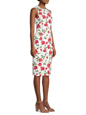 Sleeveless Stemmed-Rose Print Stretch-Cady Sheath Dress, Crimson