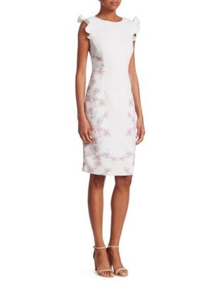NERO BY JATIN VARMA Floral Ruffle Sheath Dress in Ivory