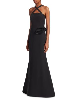 NERO BY JATIN VARMA Strapless Flower Appliqué Gown in Black