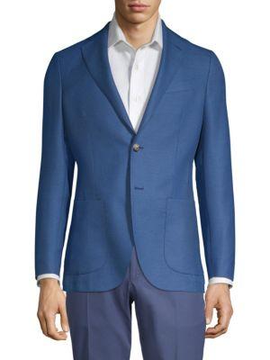 LARUSMIANI Wool Knit Sportcoat in Blue