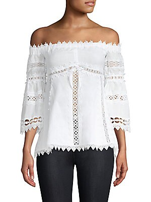 """Image of Lace eyelet blouse in off-the-shoulder style Off-the-shoulder Three-quarter sleeves Pullover style About 21"""" from shoulder to hem Cotton/spandex Hand wash Made in Spain Model shown is 5'10 (177cm) wearing US size Small. Contemporary Sp - Trend. Charo Ruiz"""