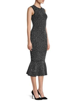 Sleeveless Crystal-Embroidered Stretch-Viscose Trumpet Cocktail Dress, Black