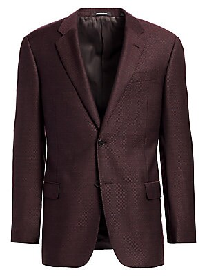 Image of From the Saks IT LIST THE JACKET The wear everywhere layer that instantly dresses you up. Sports jacket with textured finish Notched lapels Long sleeves Four button cuffs Double button single-breasted closure Chest besom pocket Two flap pockets Wool/visco