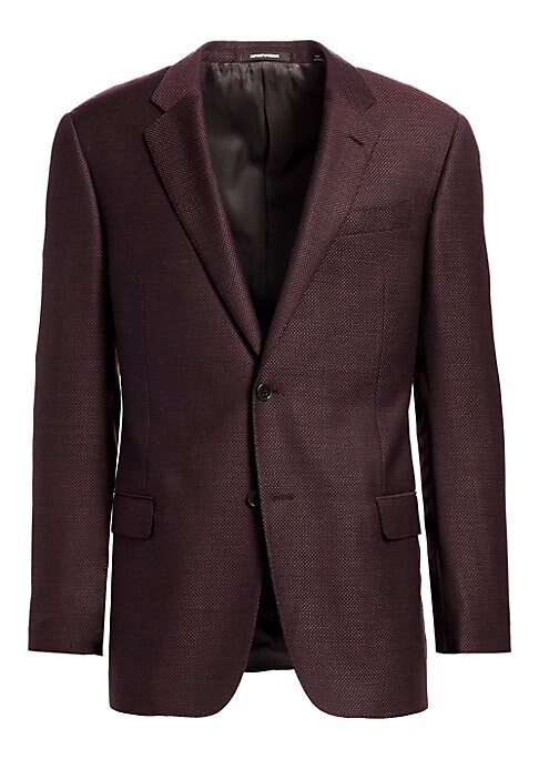 Image of From the Saks IT LIST. THE JACKET. The wear everywhere layer that instantly dresses you up. Sports jacket with textured finish. Notched lapels. Long sleeves. Four button cuffs. Double button single-breasted closure. Chest besom pocket. Two flap pockets. W