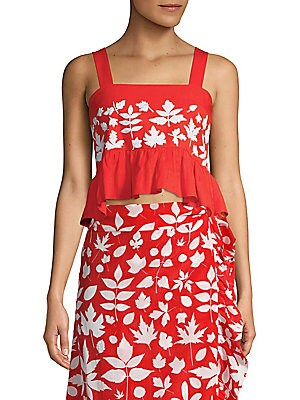 """Image of Cropped tank in rich cotton with floral print and flounce hem Squareneck Sleeveless Slip-on style Hi-lo cropped ruffle hem Shirred back About 22"""" shoulder to hem Cotton Dry clean Imported Model shown is 5'10"""" (177cm) wearing size Small. Contemporary Sp -"""