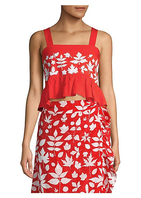 """Image of Cropped tank in rich cotton with floral print and flounce hem. Squareneck. Sleeveless. Slip-on style. Hi-lo cropped ruffle hem. Shirred back. About 22"""" shoulder to hem. Cotton. Dry clean. Imported. Model shown is 5'10"""" (177cm) wearing size Small."""