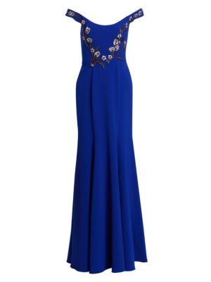 Embroidered Beaded Appliqué Off-The-Shoulder Gown in Blue