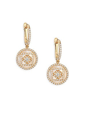 Image of Diamond lotus adorns luminous pearl drop earrings Diamonds, 0.49 tcw 18K rose gold Mother of pearl Drop, about 0.5 Post-and-hinge back Made in Italy. Fine Jewelry - Debeers A. De Beers. Color: Rose Gold.