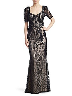 0ed93842f06a Teri Jon by Rickie Freeman - Short-Sleeve Lace Gown