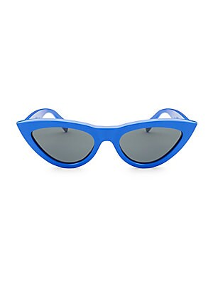 Image of Show some attitude in exaggerated cat eye blue frames 56mm lens width; 20mm bridge width; 145mm temple length 100% UV protection Solid black lenses Cloth and case included Acetate Made in Italy. Soft Accessorie - Sunglasses. Céline. Color: Blue.