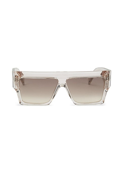 Image of Clear wraparound sunglasses with rectangular gradated lenses.61mm lens width; 10mm bridge width; 150mm temple length.100% UV protection. Gradient lenses. Case and cleaning cloth included. Acetate. Made in Italy.